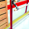 Floor mounted ballet bar support - height adjustable - double bracket (*)