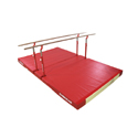 "COMPACT"" PARALLEL BARS WITH FIXED LEGS, TRANSPORT TROLLEYS AND CUSTOM FOLDING MAT"