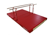 "COMPACT"" PARALLEL BARS WITH FOLDING LEGS, TRANSPORT TROLLEYS AND CUSTOM FOLDING MAT"