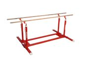 Training parallel bars with folding feet and transport trolleys