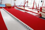 Acrobatic track - Dimensions 6 m x 2 m covered with foam and red carpet (made of 2 extremities + 2 middle panels) (*)