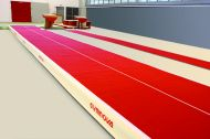 Super Sprung Adjustable elasticity tumbling track - Dimension : 6 m x 2 m with special junctions between tumbling and pit.