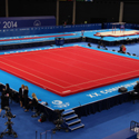 "GLASGOW"" COMPETITION SPRING EXERCISE FLOOR WITH ROLL-UP TRACKS (SPRINGS ASSEMBLED) - 14 x 14 m (*) - FIG Approved"