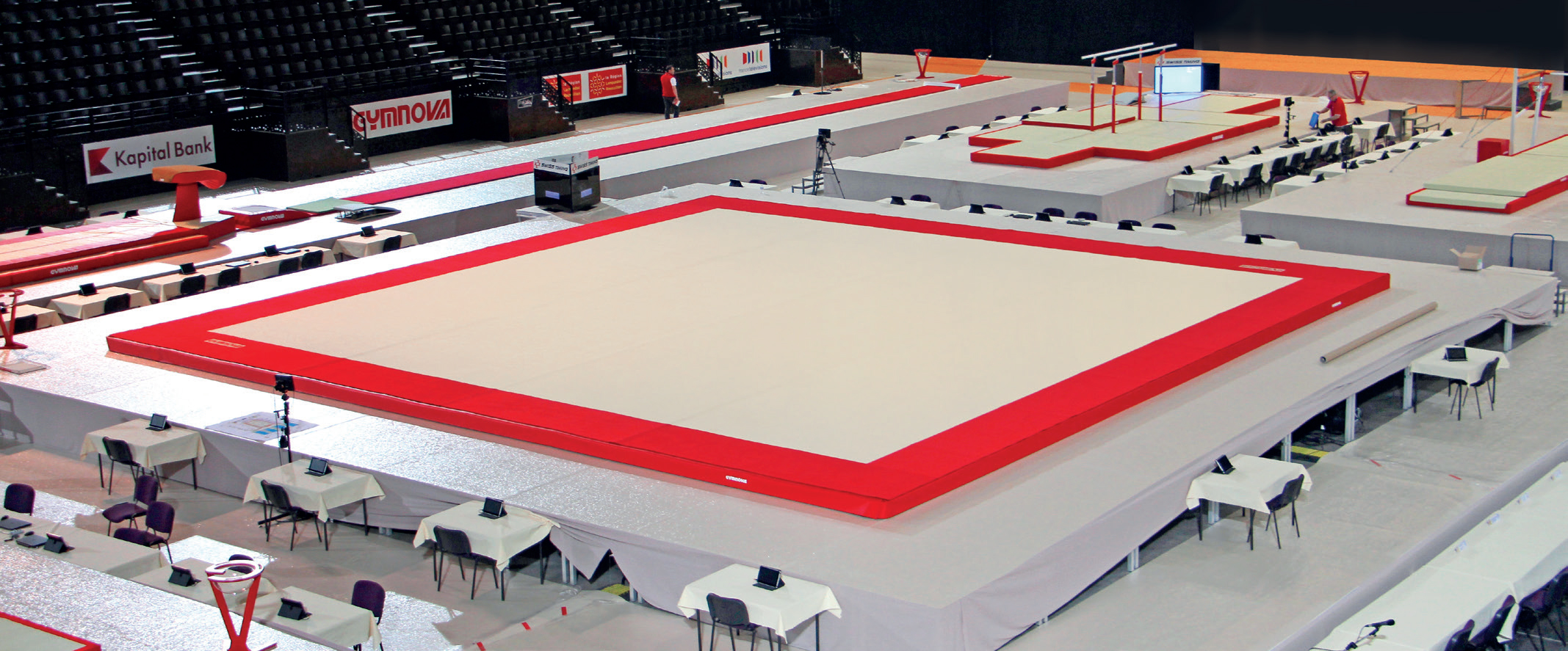 "MONTREAL"" COMPETITION SPRING EXERCISE FLOOR WITH OVERLAY CARPET (SPRINGS NOT ASSEMBLED) - 14 x 14 m (*) - FIG Approved"